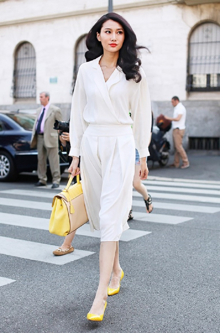 Conservative-White-Office-Outfit-with-Yellow-Shoes-and-Bag