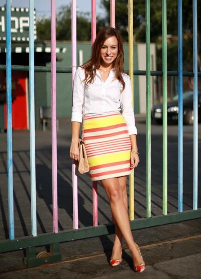 Sydne-Style-white-button-down-shirt-Ann-Taylor-yellow-orange-striped-skirt-petite-floral-shoes-mixing-prints