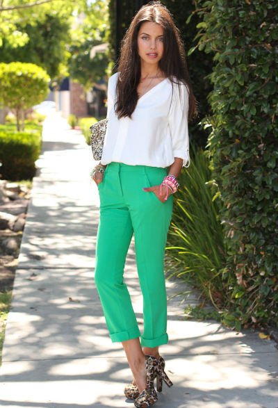 White-Blouse-Outfit-with-Green-Jeans