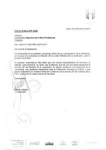 Oficio de la FPF desconociendo la actual junta directiva de la ADFP.