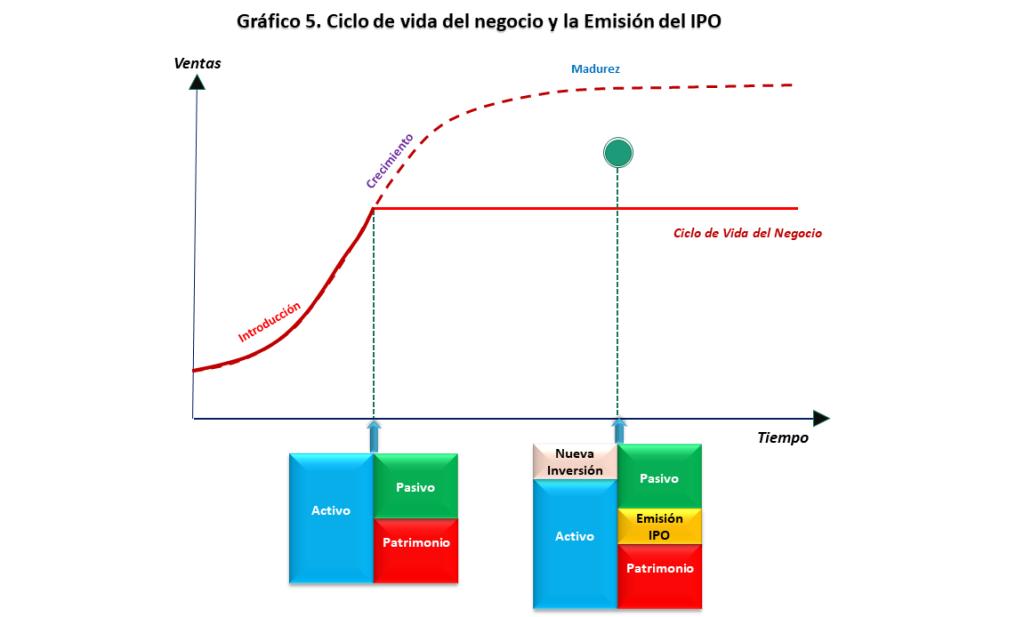 Grafico 5. Ciclo de  vida del negocio y Emisión de IPO