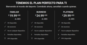 Los planes de suscripción para Sportflix.
