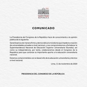 Comunicado Congreso_Sunedu