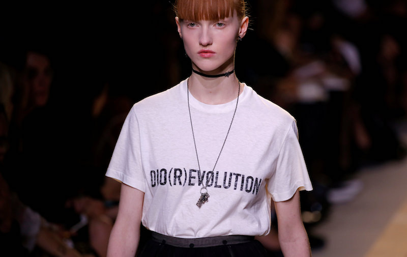 A model presents a creation by Italian designer Maria Grazia Chiuri as part of her Spring/Summer 2017 women's ready-to-wear collection for fashion house Dior during Fashion Week in Paris