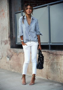 A-striped-button-down-white-jeans-and-heels